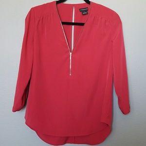 Trouve red half zip blouse size small
